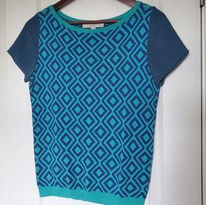 Loft Knit Geometric Print Short Sleeve Top